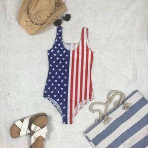 American flag swimsuit NWOT